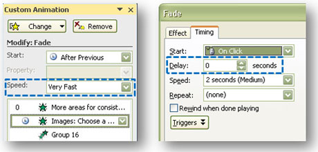 Left: You can select the speed for each effect. Right: You can change the timing by right-clicking on the effect and then changing the delay in the following pop-up window.