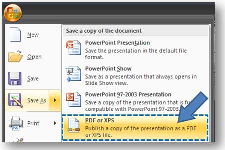 Powerpoint 2007 save as pdf add in powerpoint ninja once you have installed the save as pdf add in youll be toneelgroepblik Image collections