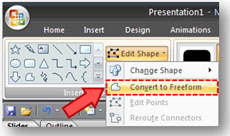 You can find the Convert to Freeform option under the Edit Shape dropdown.