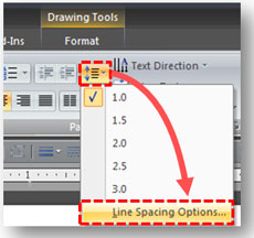 How to access the line spacing options in PowerPoint 2007.