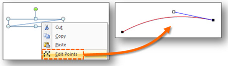 Use the blue handles in editing mode to add a curve to your line segment.