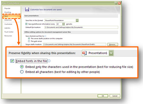 Embed fonts from within the PowerPoint Options window.