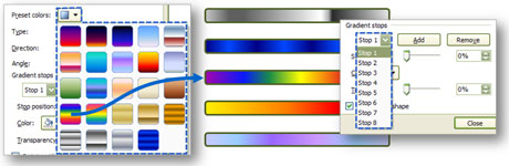 Preset gradient colors can be customized in PowerPoint 2007.