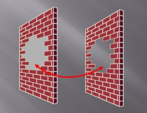 The shape on the right leverages the slide background fill effect to simulate a cut-out effect in the wall.