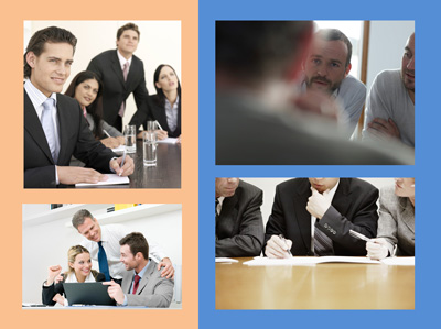 The meeting images on the left feel staged or contrived. The images on the right feel more genuine as though a snapshot was taken at a real meeting.