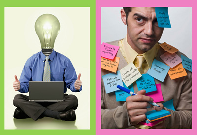 The image on the left comes across as a little tacky. The image on the right exaggerates how we can feel overwhelmed with tasks and projects.