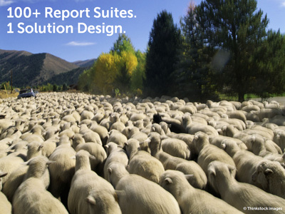 In this slide, I compared managing report suites with one solution design to shepherding sheep.
