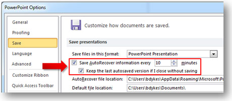 How recover an unsaved powerpoint 2010 file powerpoint ninja by default you should have these two options checked toneelgroepblik