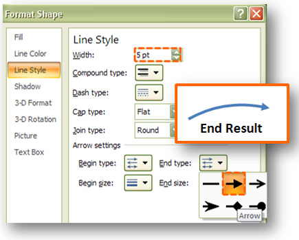The Line Style tab will enable you to add the final touches to your curved arrow.